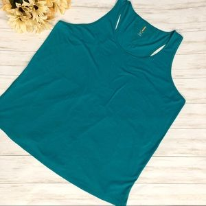 Lucy Racerback Workout Tank Teal Cotton